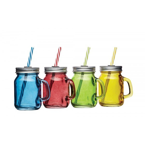 mini verre mason jar color avec paille 100ml x4 bar. Black Bedroom Furniture Sets. Home Design Ideas