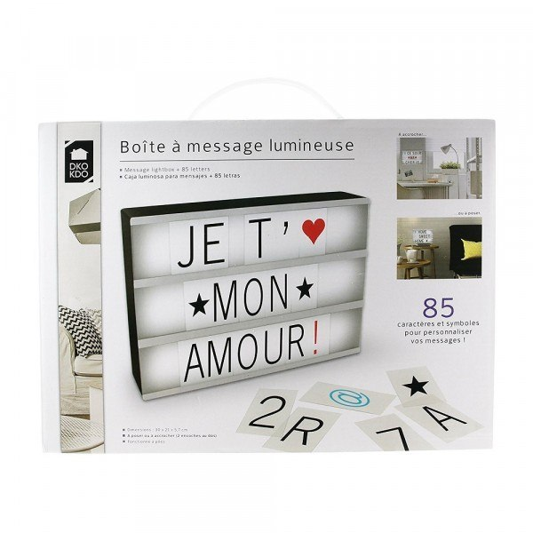 bo te message lumineuse 85 lettres. Black Bedroom Furniture Sets. Home Design Ideas