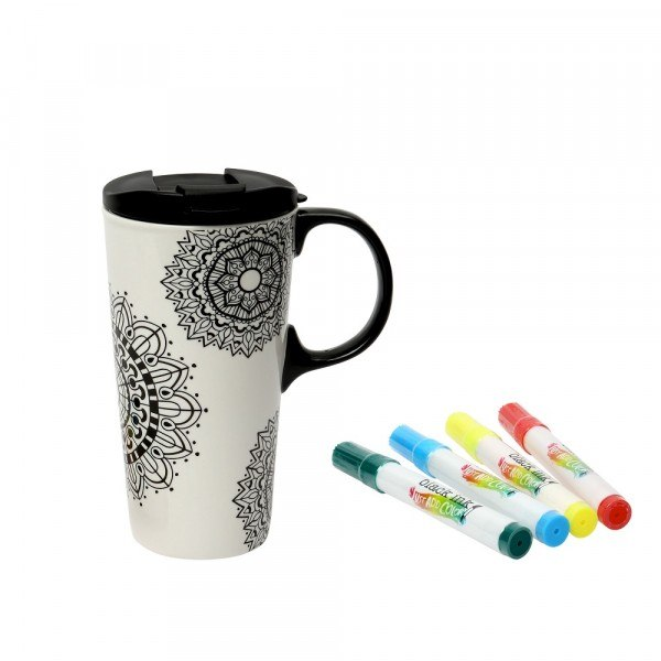 mug de voyage mandala colorier 475ml dexam. Black Bedroom Furniture Sets. Home Design Ideas
