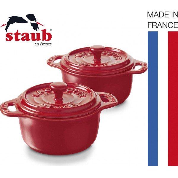 mini cocotte ceramique ronde rouge x2-staub