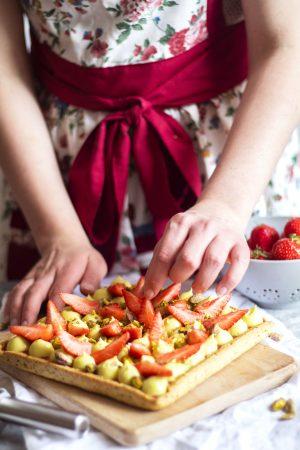 montage tarte aux fraises pistache