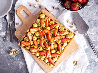 tarte fraises pistaches fête des mères