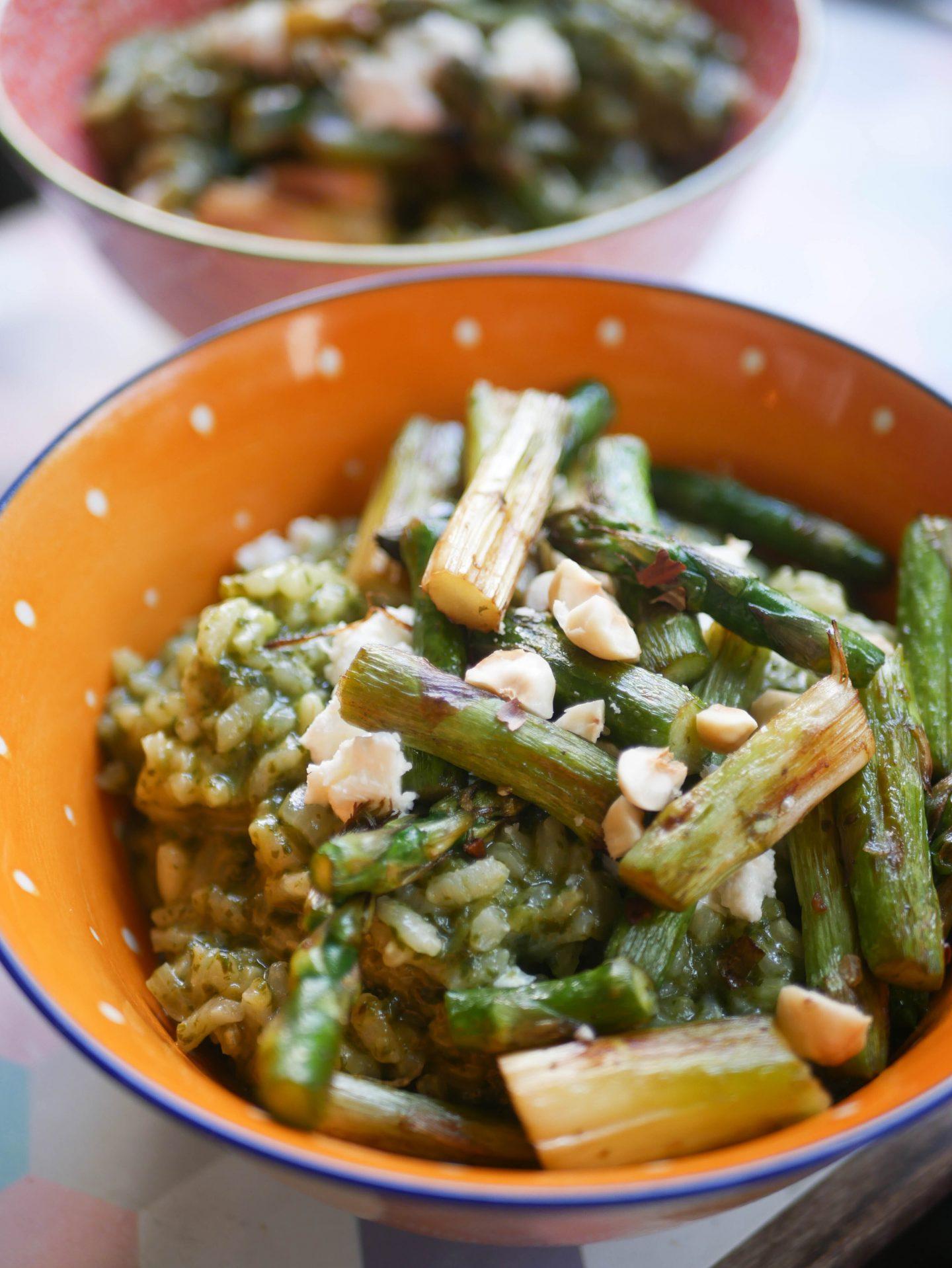risotto aux asperges et feta
