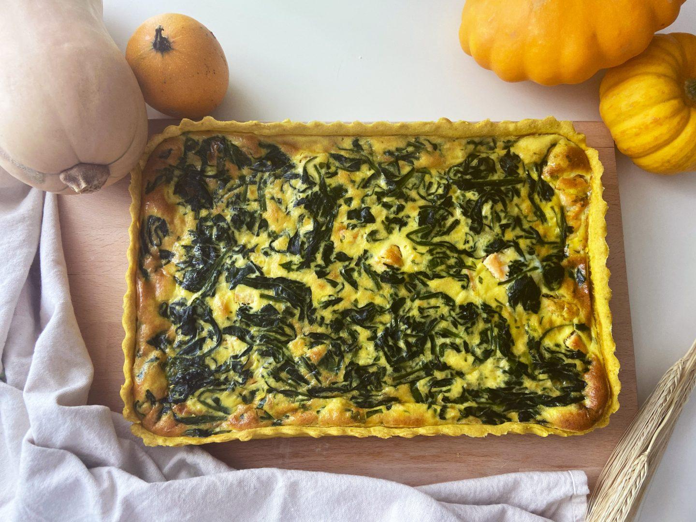 Photo de tarte salée saumon et épinards. Permet d'illustrer la recette et donner envie de recréer la recette.