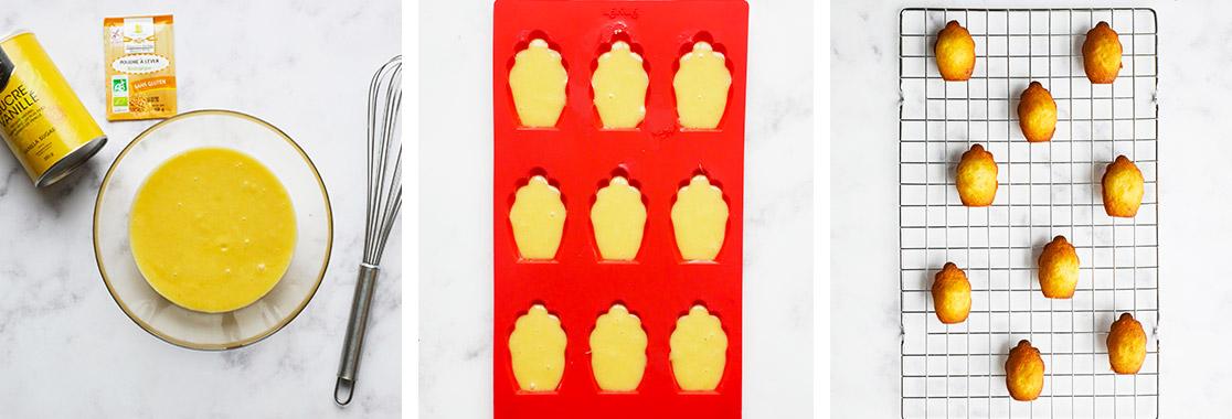 Photo mis en scène des madeleines en coque de chocolat sur la grille de présentation pour illustrer la recette.