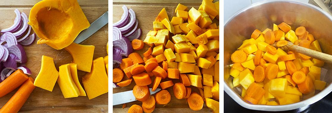Photos pas à pas pour réaliser la soupe butternut et coco. Nous voyons les légumes émincés et ensuite la préparation dans la marmite.