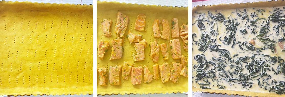 Guide pas à pas pour réaliser la tarte salée saumon et épinards Photo de tarte salée saumon et épinards. Permet d'illustrer la recette et donner envie de recréer la recette.