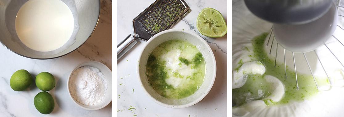 Image du pas à pas de la bûche glacée au citron vert et à la noix de coco pour illustrer la recette de bûche glacée