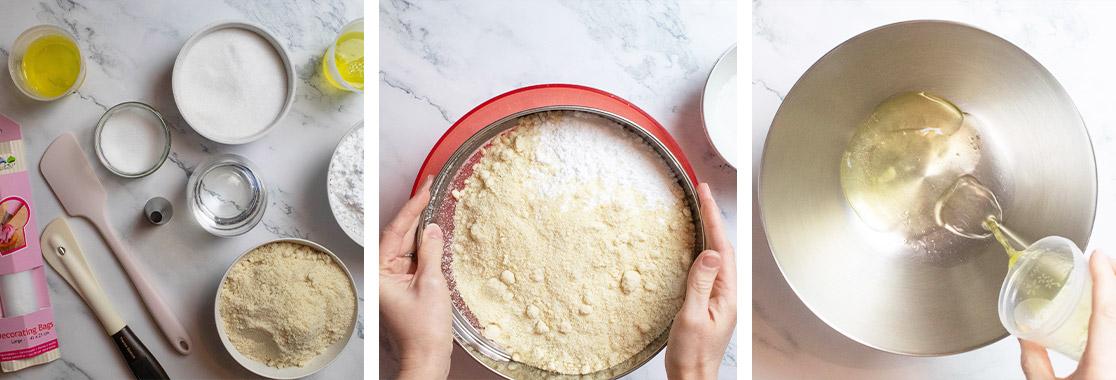 Guide pas a pas pour effectuer les coques pour la recette de macarons salé au saumon