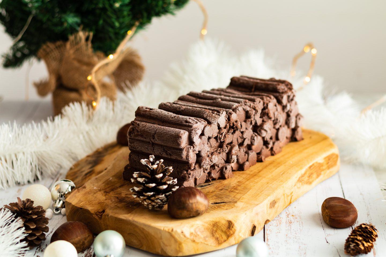 Bûche marrons et chocolat terminé pour la recette de bûche marrons et chocolat