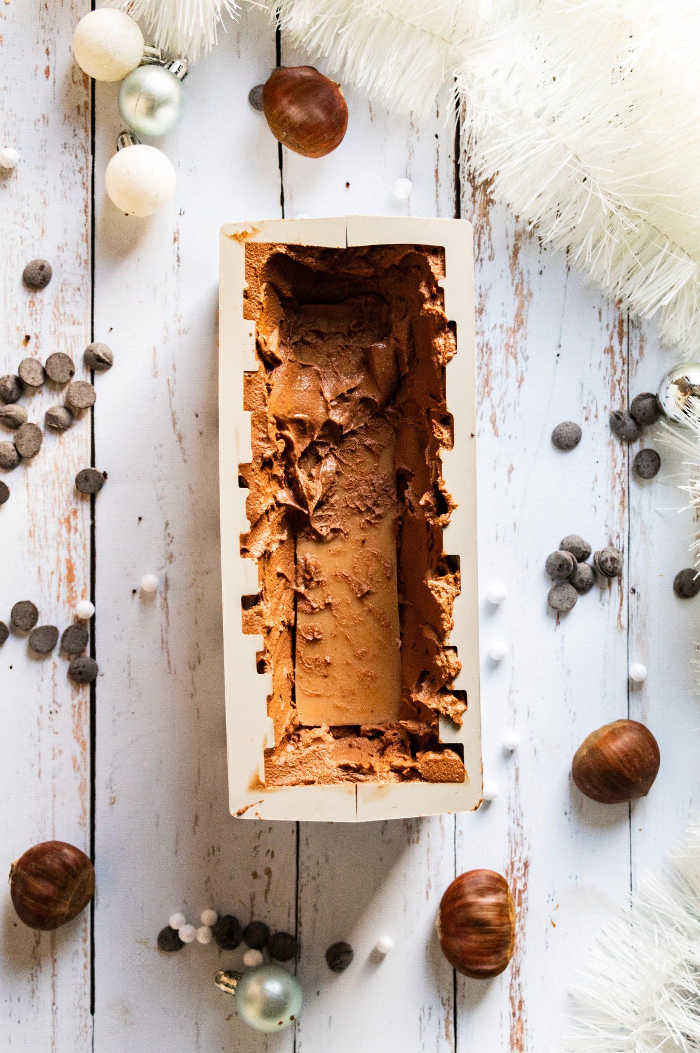 Montage Bûche marrons et chocolat