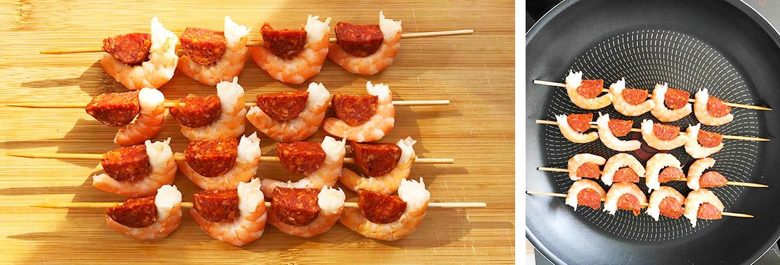 Recette brochettes crevettes chorizo