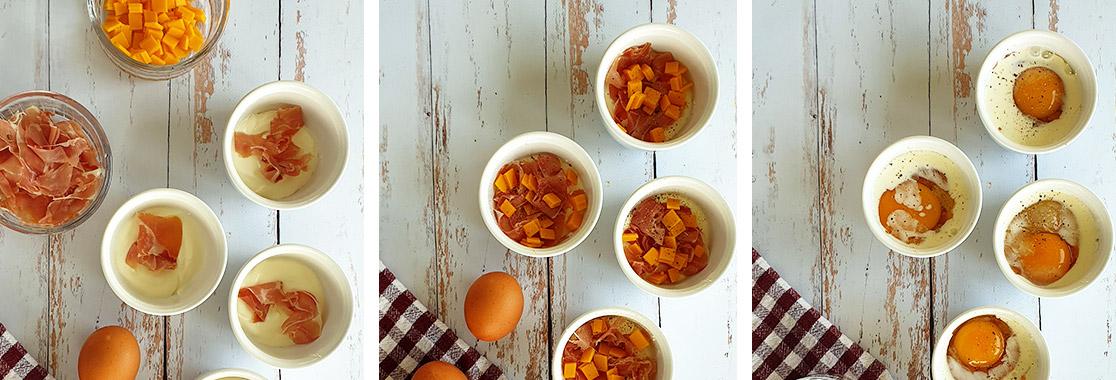 Recette oeufs cocotte jambon cheddar